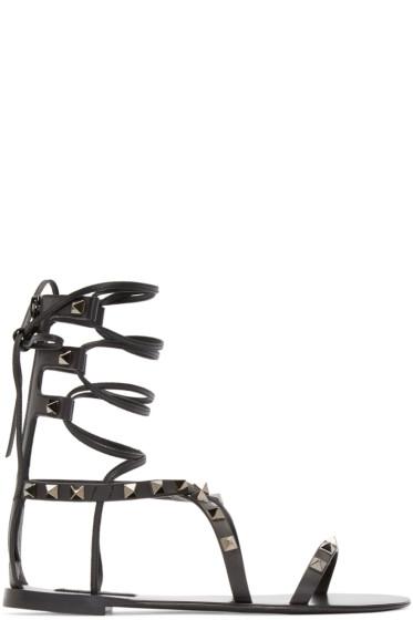 Valentino - Black Gladiator Rockstud Sandals