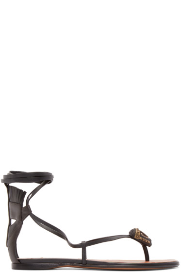 Valentino - Black Leather African Mask Sandals