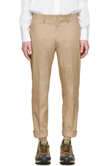 Valentino - Tan & Orange Stripe Trousers