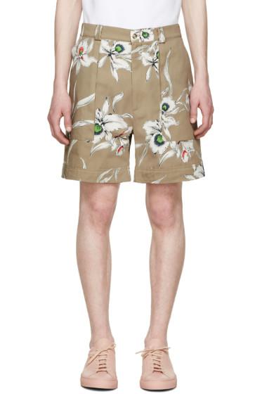 Valentino - Beige Twill Flower Shorts