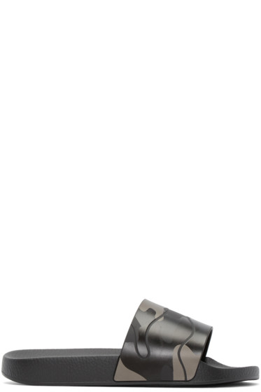 Valentino - Black Camo Slide Sandals