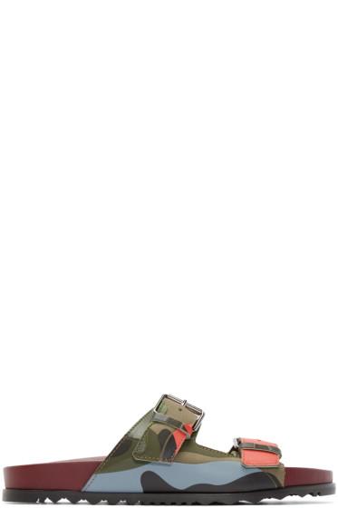 Valentino - Green Camouflage Buckle Sandals