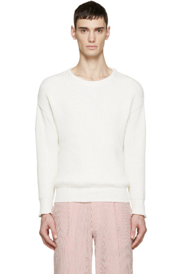AMI Alexandre Mattiussi - Ivory Rib Knit Sweater