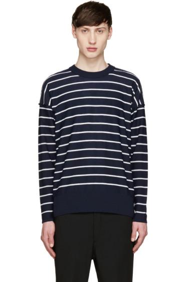 AMI Alexandre Mattiussi - Navy & White Merino Sweater