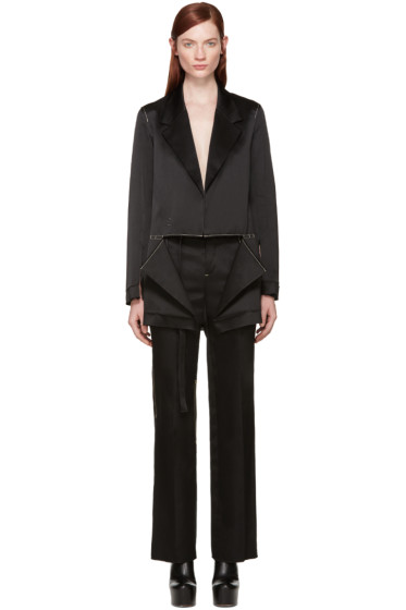 Calvin Klein Collection - Black Satin Topstitched Gillin Jacket