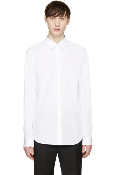 Calvin Klein Collection - White Poplin Topstitched Shirt