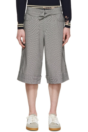 Yang Li - Black & White Houndstooth Linen Shorts