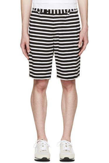 08Sircus - Black & White Striped Border Shorts