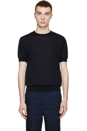 Kolor - Navy Wool Jersey T-Shirt