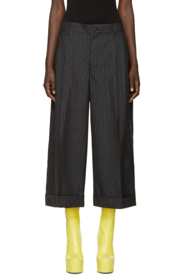 Facetasm - Black Wool Pinstripe Trousers