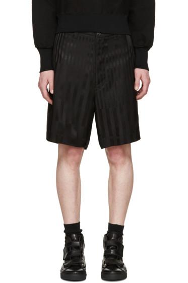 Facetasm - Black Tonal Striped Shorts
