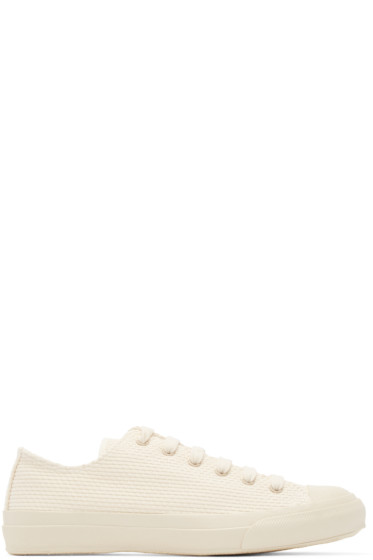 Naked & Famous Denim - Cream Canvas Sashiko Sneakers