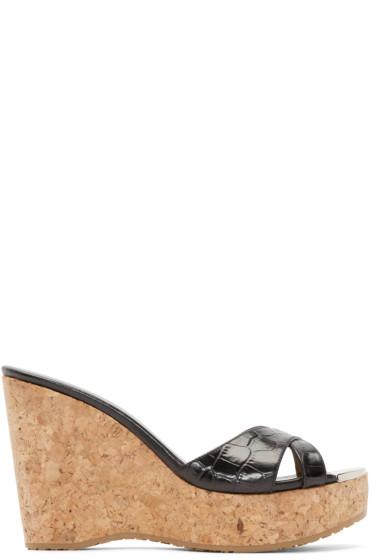 Jimmy Choo - Black Leather & Cork Perfume Wedge Sandals