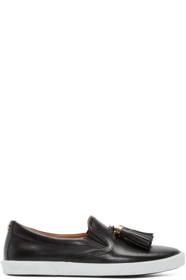 Jimmy Choo - Black Leather Dale Slip-On Sneakers