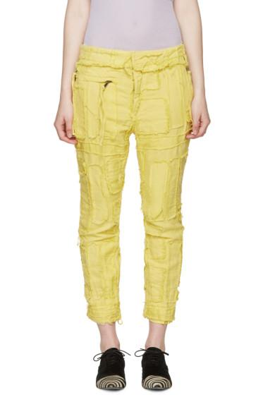Haider Ackermann - Yellow Patchwork Biker Trousers