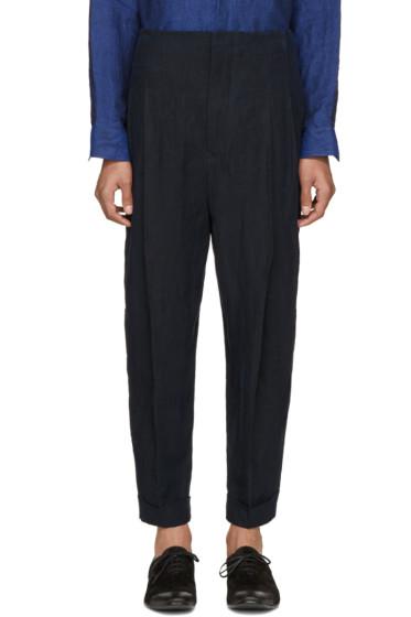 Haider Ackermann - Navy Linen Pleated Trousers