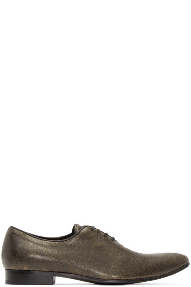 Haider Ackermann - Gold & Black Distressed Leather Oxfords