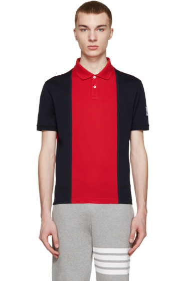 Moncler Gamme Bleu - Navy & Red Colorblocked Polo