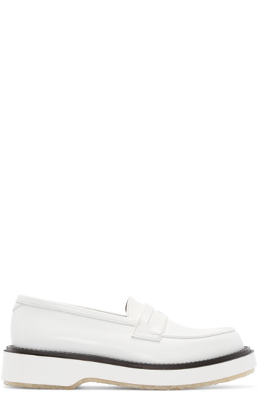 Adieu - White Leather Type 5 Penny Loafers