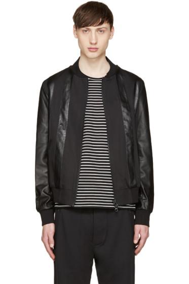 Giuliano Fujiwara - Black Twill & Leather Bomber Jacket