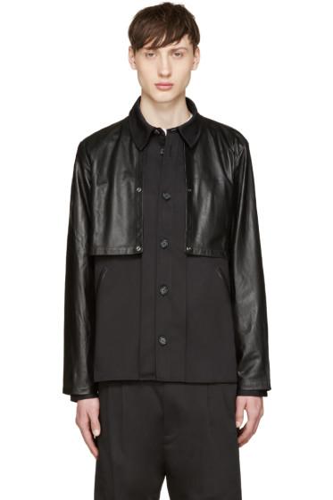 Giuliano Fujiwara - Black Twill & Leather Cape Shirt