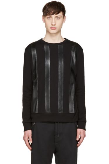 Giuliano Fujiwara - Black Leather Striped Pullover