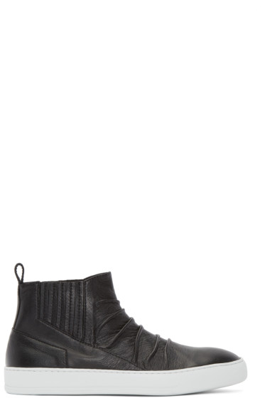 Alexandre Plokhov - Black Creased Leather Mid-Top Sneakers