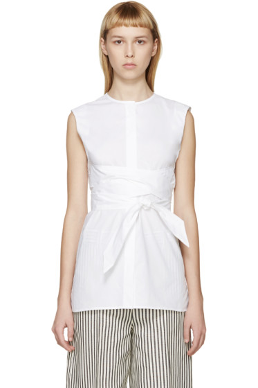 Each x Other - White Belted Sleeveless Blouse