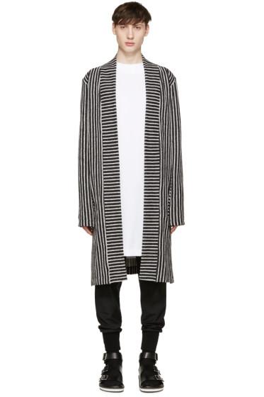 Pyer Moss - SSENSE Exclusive Black & White Striped Cardigan