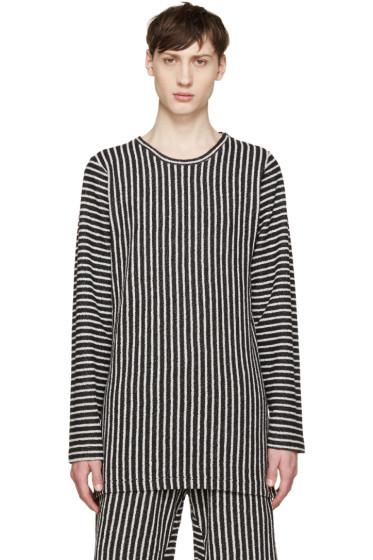 Pyer Moss - SSENSE Exclusive Black & White Striped Pullover
