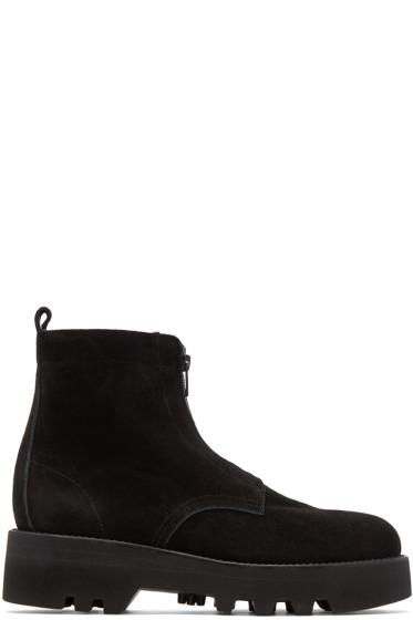 Lad Musician - Black Suede Combat Boots