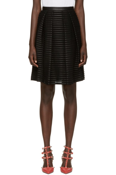 Burberry London - Black Silk & Leather Striped Skirt
