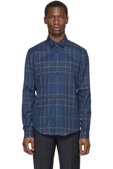 Burberry London - Navy Check Flannel Shirt