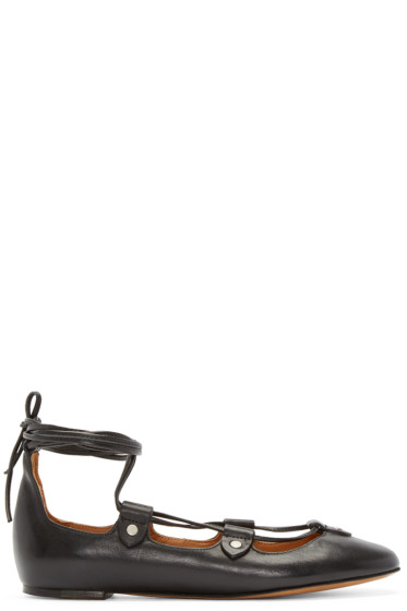 Isabel Marant - Black Lace-Up Lali Ballerina Flats