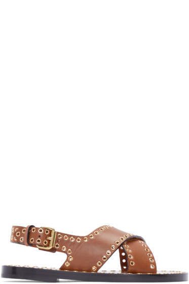 Isabel Marant - Brown Leather Jane Sandals