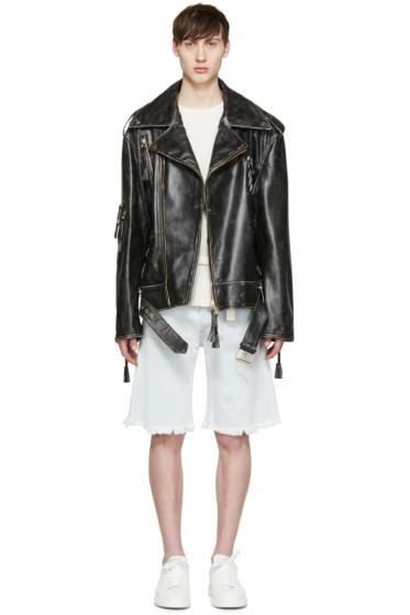 Off-White - Black Oversized Biker Jacket