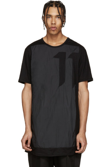 11 by Boris Bidjan Saberi - Black Contrast-Panel T-Shirt