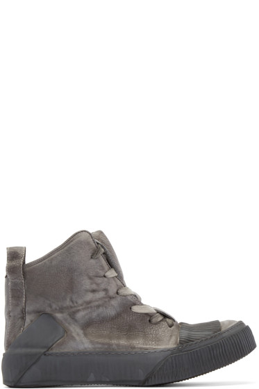 Boris Bidjan Saberi - Grey Leather Bamba 1 High-Top Sneakers