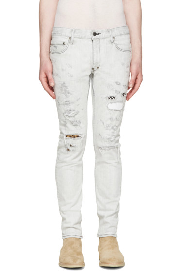 Diet Butcher Slim Skin - Grey Skinny Damaged Repair Jeans