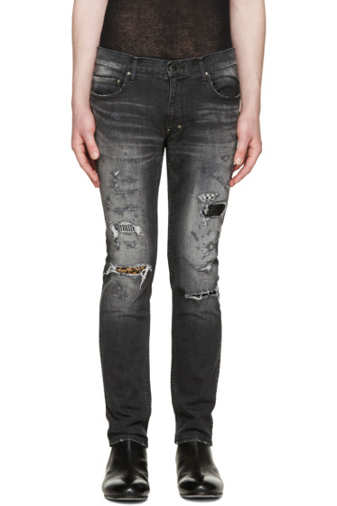 Diet Butcher Slim Skin - Black Skinny Damaged Repair Jeans