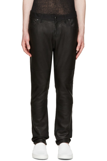Diet Butcher Slim Skin - Black Leather Panel Jeans