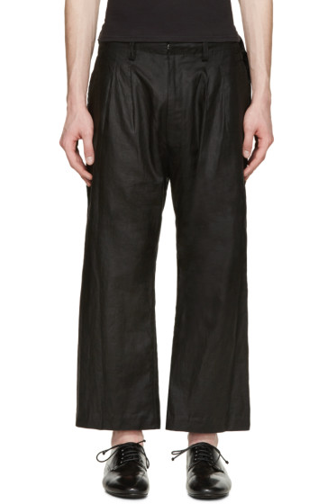 Nude:mm - Black Pleated Linen Trousers
