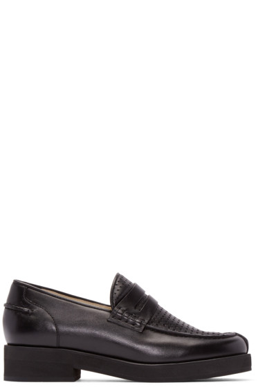 Jil Sander Navy - Black Perforated Leather Loafers