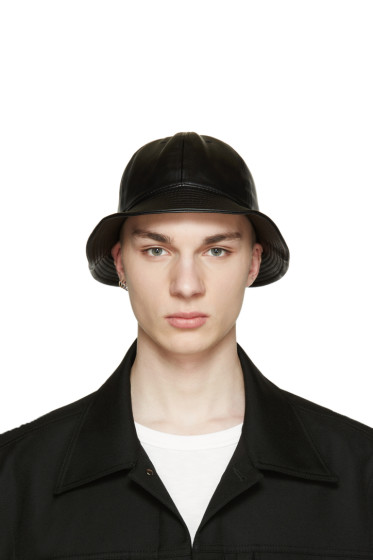 D by D - Black Faux-Leather Bucket Hat
