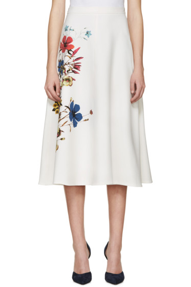 Erdem - White Floral Maury Skirt