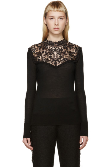 Erdem - Black Knit Lace Clem Sweater