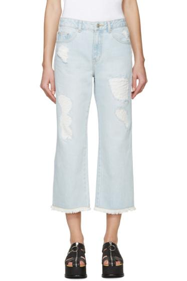 SJYP - Blue Destroyed Cut-Off Jeans