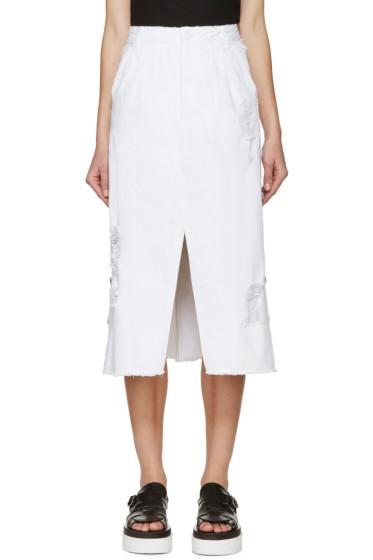 SJYP - White Distressed Denim Skirt