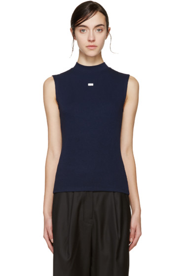 SJYP - Navy Sleeveless Ribbed T-Shirt