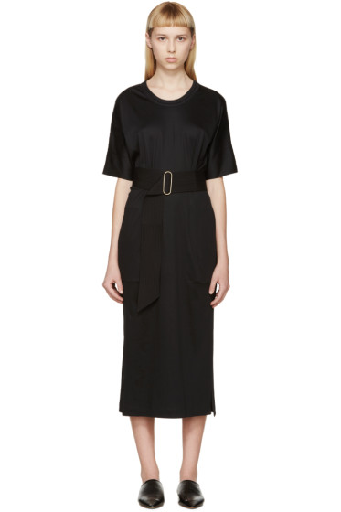 Lemaire - Black Belted Jersey Dress